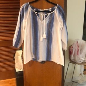 SOFT JOIE COTTON TASSEL TIE BLOUSE